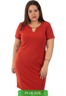Vestido Vermelho Gris Plus Size