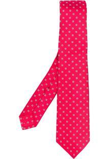 Kiton Gravata Com Estampa Quadrada - Vermelho
