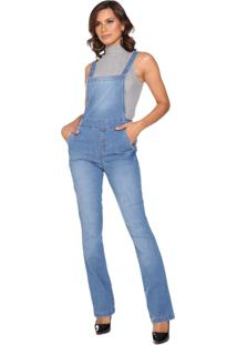 Macacão Jeans Lúcia Figueredo Bootcut Azul