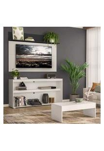 "Rack C/ Painel Tv 55"" Com Mesa De Centro Atualle Plus Multimóveis Branco/Preto"