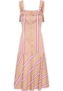 Vestido Midi Listras Tamarindo Maria Filó - Bege
