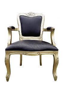 Poltrona Luis Xv - Dourado Com Preto - Tommy Design