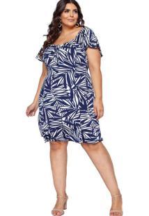 Vestido Almaria Plus Size Pianeta Estampada Azul