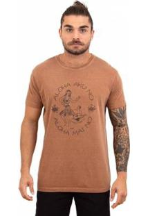 Camiseta Limits Laundry Aloha Song Masculina - Masculino-Marrom