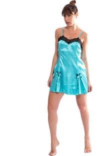 Camisola Thais Gusmã£O Cetim Amanda Azul - Azul - Feminino - Cetim - Dafiti
