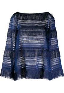Alberta Ferretti Blusa Com Detalhe De Franjas - Azul