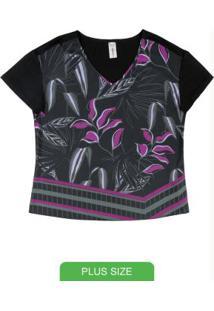 Blusa Estampada Com Decote V Preto