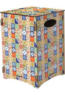 Banco Organizador Ladrilhos- Laranja & Azul- 45X30X3Cia Laser