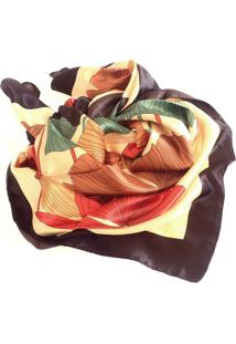 Lenço De Seda Artestore Estampado Grande Echarpe. Xale, Floral
