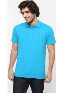 Camisa Polo Lacoste Super Light Masculina - Masculino-Azul Piscina+Verde