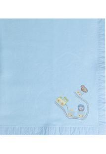 Cobertor Bordado- Azul Claro- 90X110Cm- 99 Fios