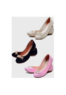 Kit 3 Pares Sapatilhas Estilo Shoes Casual Rosa