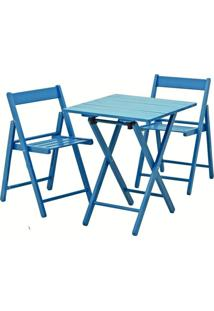 Conjunto Mesa E 2 Cadeiras Dobráveis Aconchego Tramontina Azul