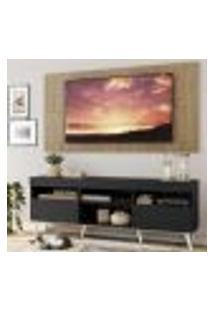 """Rack Com Painel E Suporte Tv 65"""" Londres Multimóveis Pés Retrô E 2 Portas Preto/Rustic/Branco"""
