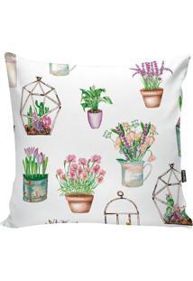 Capa De Almofada Floral- Branca & Verde- 42X42Cmstm Home