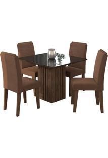 Conjunto De 4 Cadeiras Para Sala De Jantar 95X95 Ana/Tais-Cimol - Marrocos / Preto / Chocolate