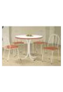 Conjunto De Mesa Com 4 Cadeiras Leila Branco E Laranja