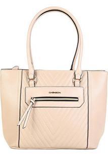 Bolsa Sacola Chenson Shopper Matelassê Básica Feminina - Feminino-Bege