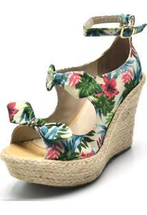 Sandália Anabela Salto Alto Com Laços Em Tecido Floral Branco - Kanui