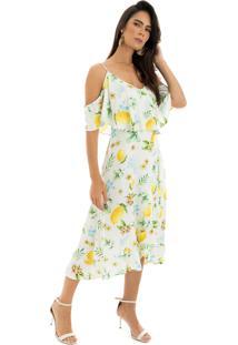 Vestido La Mandinne Midi Alcinha Estampado Limões Off White 48f030579491d