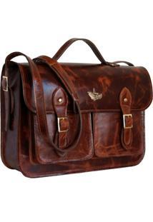 Bolsa Line Store Leather Satchel Pockets Grande Couro Conhaque Vintage. - Marrom - Dafiti