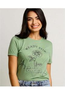Camiseta Estampa Flor Marisa Manga Curta Feminina - Feminino-Verde