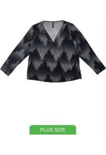 Blusa Com Decote V E Estampa Preto