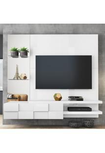 """Painel Para Tv Até 50"""" Turim 100% Mdf 12944 Branco Laca - Dj Móveis"""