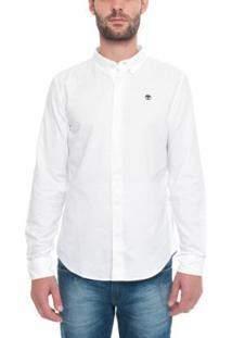 Camisa Timberland Manga Longa Rattle River Oxford Masculina - Masculino-Branco