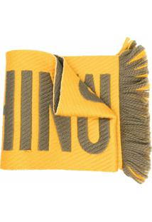 Moschino Cachecol De Lã Mista Com Estampa De Logo - Amarelo
