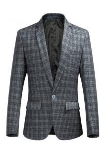 Blazer Masculino Elegante Design Enxadrezado - Cinza