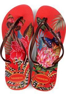 8ac73a1f622b79 Zattini Chinelo Slim Feminino Havaianas Branco Vermelho Tropical - Sandália  Feminino-Vermelho+Branco