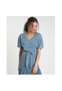 Blusa Feminina Ampla Estampada De Folhagem Com Nó Manga Curta Decote V Azul Petróleo