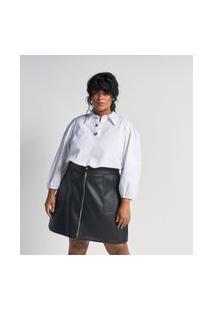 Camisa Lisa Em Tricoline Com Botões Jóia Curve E Plus Size Branco