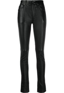 Saint Laurent Skinny-Fit Leather Trousers - Preto