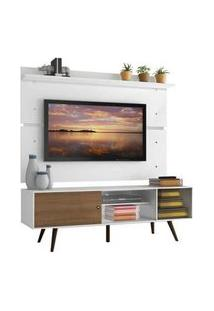 Rack Madesa Cairo E Painel Para Tv Até 65 Polegadas Com Pés De Madeira Branco/Rustic/Branco
