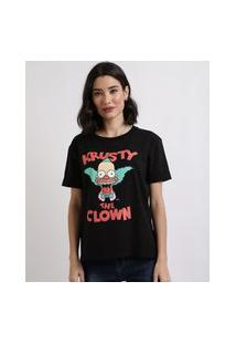 Blusa Feminina Palhaço Krusty Do Simpsons Manga Curta Decote Redondo Preta