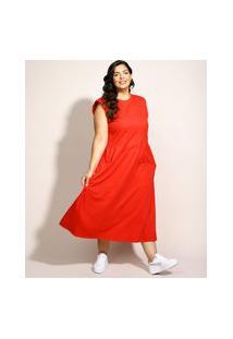 Vestido Muscle Dress Feminino Plus Size Mindset Midi Com Ombreira Sem Manga Vermelho