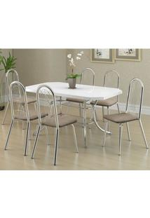 Mesa 1507 Branca Cromada Com 6 Cadeiras 182 Camurça Conhaque Carraro
