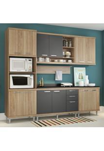 Cozinha Compacta 12 Portas 3 Gavetas Sicilia 5815 Argila/Grafite Premium - Multimóveis