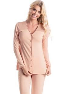 Pijama Gloss Longo Abotoado Rose/P