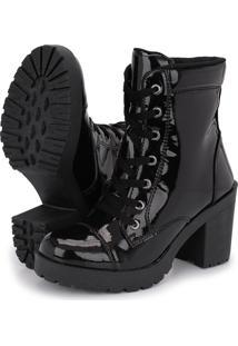 Bota Tratorada Cano Medio Cr Shoes Salto Verniz 1701L Preto