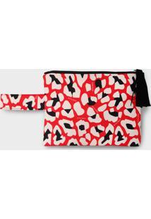 Necessaire Nita Faco Leopardo Vermelho - Vermelho - Feminino - Dafiti