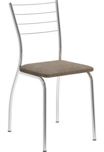 Kit 2 Cadeiras 1700 Tecido Camurça Móveis Carraro Marrom