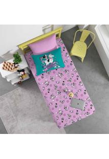 Jogo De Cama Portallar Solteiro Malha Estampado Disney 2 Peças Joy Minnie E Unicórnio