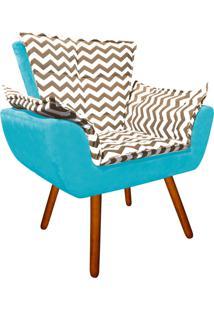 Poltrona Decorativa Opala Suede Composê Estampado Zig Zag Bege D81 E Suede Azul Tiffany - D'Rossi