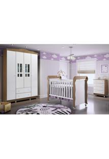 Quarto De Bebê Completo Guarda Roupa 4 Portas, Cômoda E Berço Mirelle Carolina Baby Branco/Amadeirado