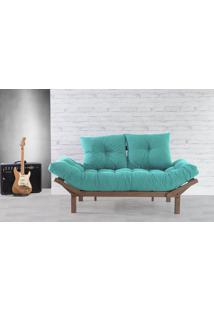 Sofá Cama Solteiro Country Comfort 190X80X83 Cm - Acabamento Nogueira Tec.950 - Azul Turquesa