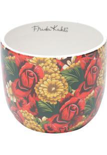 Cachepot Frida Kahlo® Floral- Vermelho & Verde Escuro