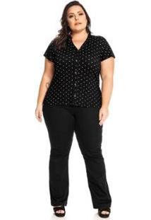 Camisa Viscotorcion Feminina Rovitex Plus - Feminino-Preto